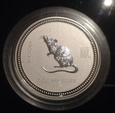 2 oz Silver Rat / Mouse Australian Lunar Series I VERY RARE