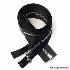 RiRi Zipper m6, 1 Way Separating End, Nickel, Black 2110, Satin Tape, Flach, 36""