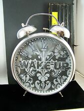Wake Up!  Bell Alarm Clock Decorative Face Battery Quartz Anolog Silver Color