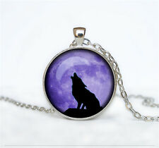Vintage Wolf Cabochon Glass Dome Silver Pendant Chain Necklace KN121
