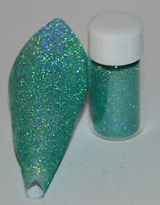 Nail Art Ultra Fine Micro Glitter Holographic Aqua 0.1mm 5 grams per pot