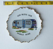 Vintage 1950s God Bless Our Mobile Home Decorative Wall Hanging Plate