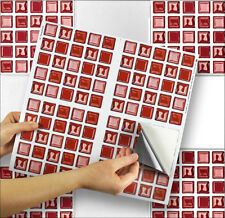 "4 Tile Transfer Stickers 6"" x 6"" RED GLASS for Kitchen & Bathroom tiles"