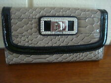 NWT GUESS TALARA TAUPE CHECKBOOK WALLET W/ RHINESTONE 100% AUTHENTIC