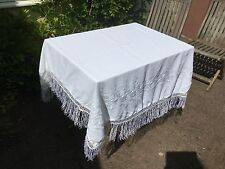 Vintage white crepe embroidered piano shawl or throw with fringe