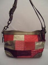 COACH Signature Patchwork Pink Silver Purple Purse Shoulder or Crossbody Hobo