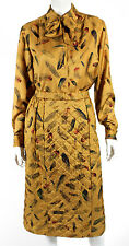 HERMES Vintage NWT Ocre Silk Twill LES PLUMES Quilted Skirt Outfit Set