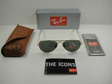 RAY-BAN AVIATOR POLARIZED SUNGLASSES RB3025 001/58 GOLD/G-15 XLT LENS, 62MM NEW