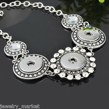 JM Silver Plated Shimmering Snap Button Pendant Necklace Diy Jewelry 57.5cm