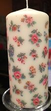 CATH KIDSTON HIGHGATE DITSY WHITE DESIGN HAND DECORATED PILLAR CANDLE 36hrs