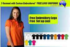 3 Custom  Ladies Sports Polo with Your Embroidered * FREE LOGO  POLO SHIRTS*