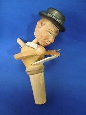 Vintage Anri Bottle Stopper Cork Carved Wood Mechanical Reading Man- #2