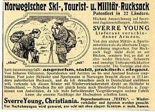 Sverre Young Christiania Norwegischer Armee-Rucksack Historische Annonce 1913