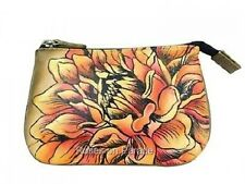 ANUSCHKA LEATHER ~GOLD AND ORANGE #1107-DRD-BZ MEDIUM COIN PURSE NWT