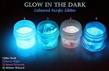 WHITE GID GLOW IN THE DARK STAR DUST NAIL ACRYLIC GLITTERS 1/2oz + 1tsp GID gift