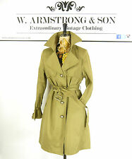 Women's Green Cotton 60s Style MOD BeeHive Belted Trench Mac Alexa Coat UK 12