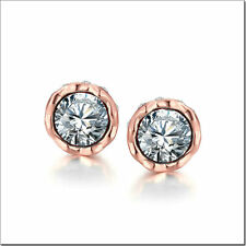 Women Fashion Ear Studs Earrings Rose Gold Plated Zircon Jewelry LF