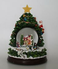22.9cm Musical Christmas Tree Shaped Decoration With Snow Globe + LEDs (WG3)