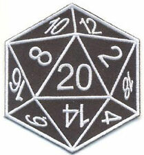 EMBROIDERED CLOTH PATCH D 20 sided Dice D&D Goth Punk geek nerd orange dracula