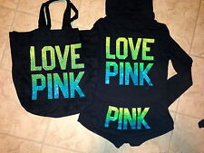 Victoria Secret Pink RAINBOW GREEN NEON Bling Hoodie Shorts set ombre cover-up S