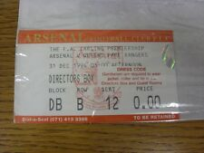 31/12/1994 Ticket: Arsenal v Queens Park Rangers [Directors Box]. Thanks for vie