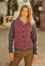 STYLECRAFT LADIES CARDIGAN WITH HOOD ALPACA TWEED DK YARN KNITTING PATTERN 9010