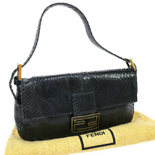 Authentic FENDI Mamma Baguette Hand Bag Navy Python Leather Italy Vintage V08333