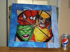 "MARVEL HEROES- 13.75"" GLASS CLOCK, SPIDERMAN/ HULK/ IRON MAN/ THOR, Battery Op."