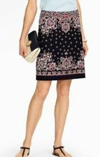 Talbots Woman Dotted Paisley A Line Skirt Navy Blue Red White 16 16WP NWT