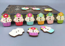 20pcs Wooden Sewing Buttons Flowers Ice cream shape Fit Scrapbooking Crafts 30mm