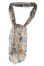 EDGY REBEL LOOK BROWN-GREY SUMMER NECKTIE SCARF COLOURFUL SKULLS PRINT (MS25)