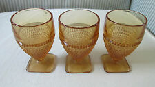 3 Vintage Amber Brown Depression Glass Footed Goblets Diamond Pattern 3 1/4""