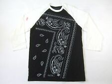 RING OF FIRE BLACK WHITE LARGE MID SLEEVE PAISLEY FRAME ART TSHIRT MENS DEFECT