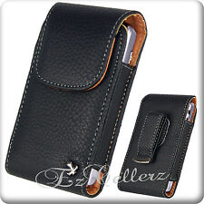 For ZTE TEMPO BOOST MOBILE LEATHER BLACK VERTICAL COVER CASE POUCH HOLSTER CLIP