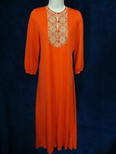 60's 70's Vintage Hippie Gossard Artemis Nylon Red Boho Embroidered Nightgown S