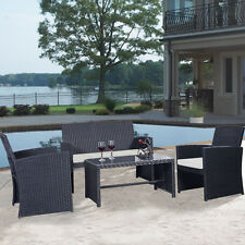 Black Rattan 4 PCS Cushioned Outdoor Wicker Patio Set Garden Lawn Sofa Furniture