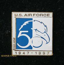 US AIR FORCE 50TH ANNIVERSARY HAT LAPEL PIN USAF 1947 - 1997 AFB WING GIFT WOW!