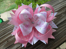 Hair Bow a Large Boutique style Princess with Felt Crown center Hairbow