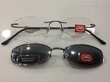 NEW marc ecko rimless eyeglasses (ECKO 5051) 49-18-143mm w/Sun Clip