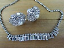 Vtg Signed WEISS Rhinestone Necklace & Cluster Faux Pearl Clip Earrings Set