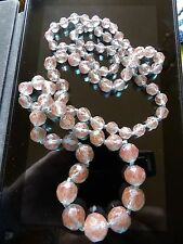 RARE ESTATE FIND ULTRA LONG ART DECO GRADUATING SAPHIRET GLASS NECKLACE TD253-1
