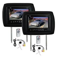 New PL71PHB Adjustable Headrest Pair with Built-in 7'' TFT-LCD Monitors Black