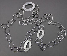 "Silpada Oxidized Hammered Sterling Silver Oval Link Necklace 34"" N1506"