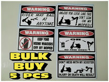 FUNNY WARNING STICKERS MOPED SCOOTER MOBILITY ELECTRIC FENDER BUMPER DECAL X5 PC
