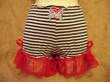 Black white stripe bloomers, red lace heart & anchor!1950's,pin-up,rockabilly!