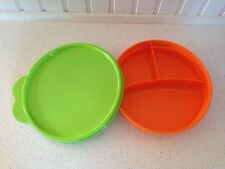 Tupperware Kids Orange Divided Dish / Plate / Bowl with Lime Green Seal New