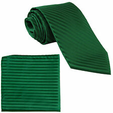 New Polyester Woven Men's Neck Tie necktie & hankie set Stripes Emerald green