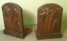 VINTAGE PAIR OF FLOWER BOOKEND MID CENTURY BOOKENDS Daffodils Floral Brown