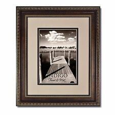 Set of 3 11x14 Ornate Bronze Picture Frame, Glass & Oyster/Espresso Mat for 8x10