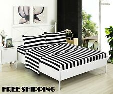 Bed Fitted Flat Sheet Set Black White Striped Full Size Pillow Cases Sleep